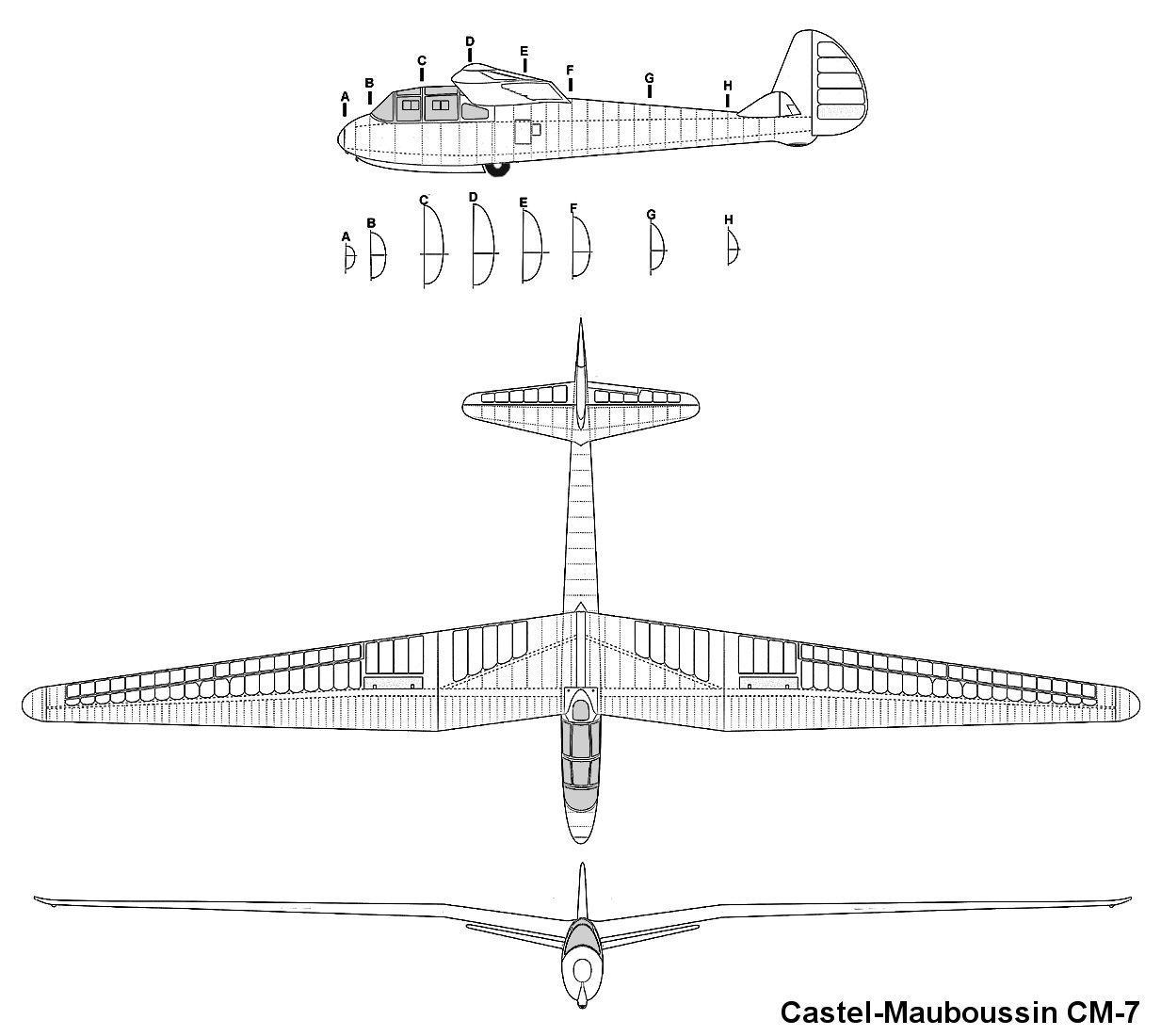 Plan 3 Vues Aviation Engineering Schematics Castel Mauboussin Cm