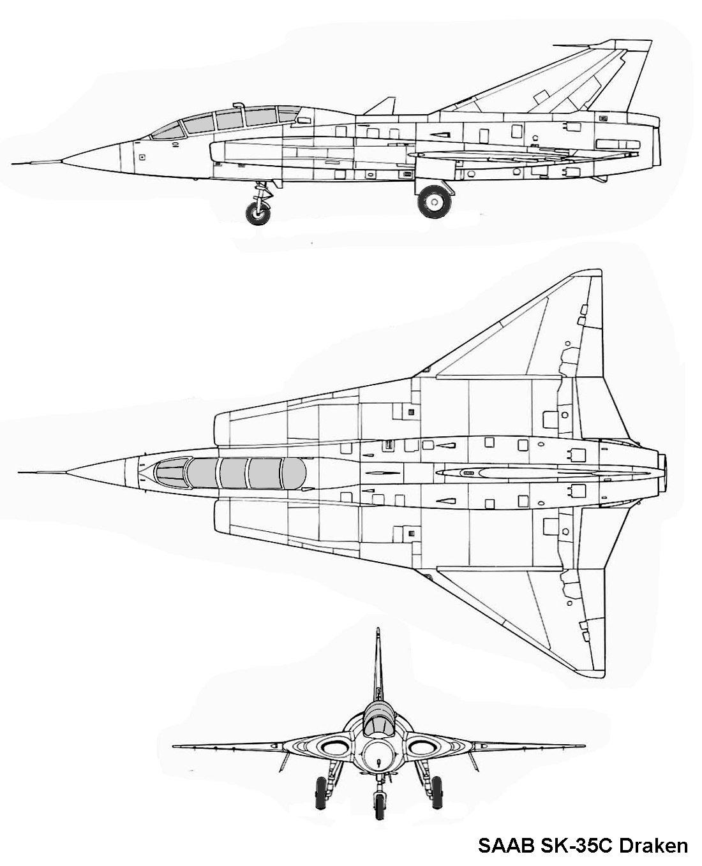 plan 3 vues F-22 Holloman AFB saab sk 35c