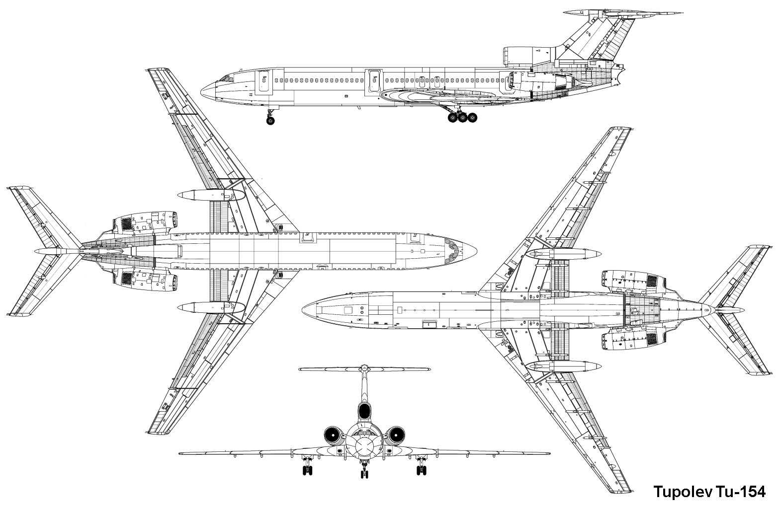 Чертежи самолета Ту-154.